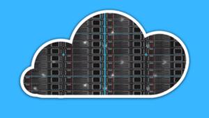 Wolke mit Rechenzentrum auf blauem Hintergrund