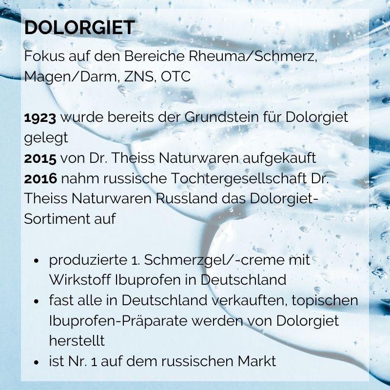 Dolorgiet/Dr. Theiss Naturwaren Nr. 1 auf dem russischen Markt für Ibuprofen Schmerzgel - Success Story mit tracekey solutions